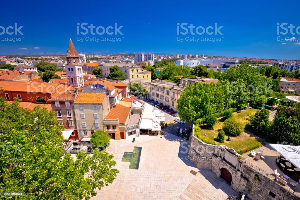 City of Zadar landmarks and cityscape aerial view, Dalmatia region of Croatia stock photo