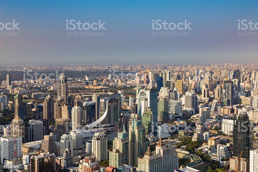 City office building skyline, Bangkok cityscape downtown, Thailand stock photo