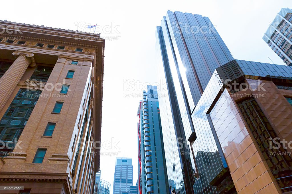 City office skyscrapers in Sydney Australia, low angle view stock photo