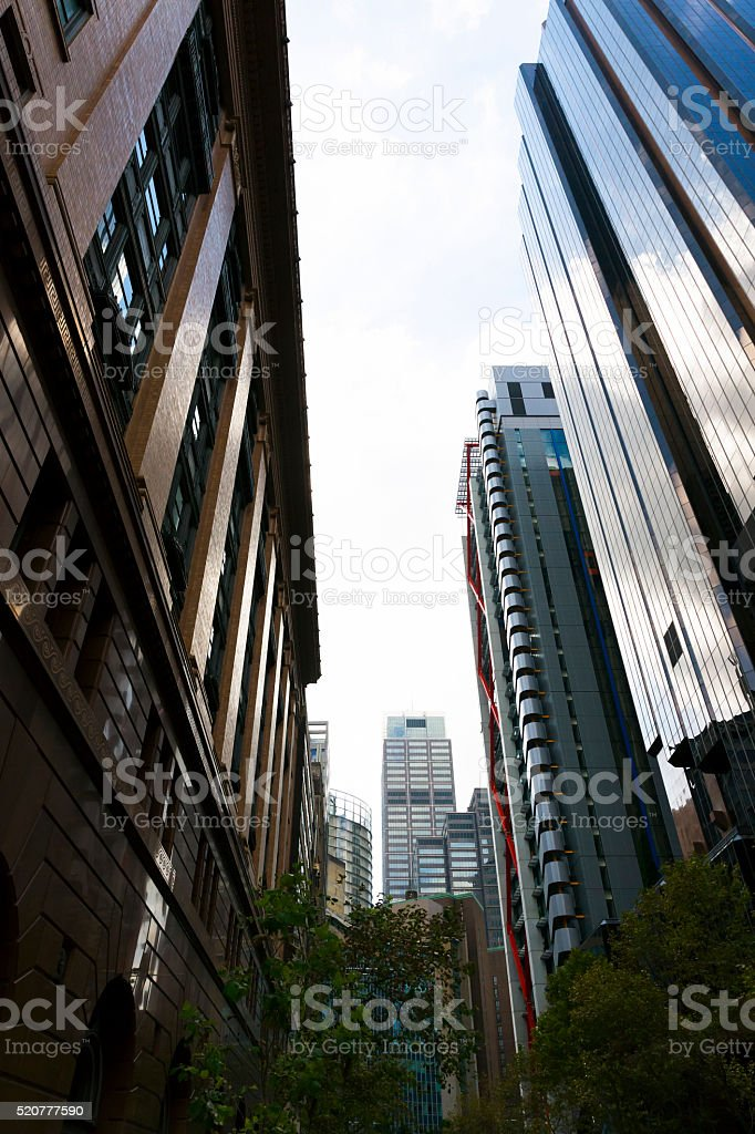 City office skyscrapers in Sydney Austsralia, low angle view stock photo