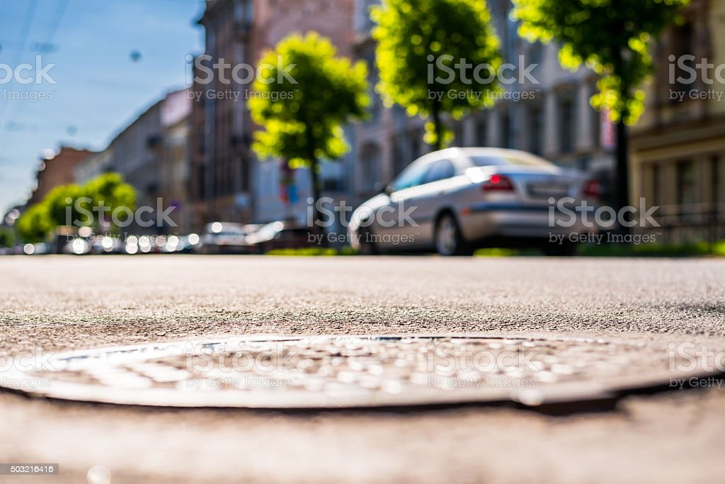 City on a sunny day, a quiet city street stock photo