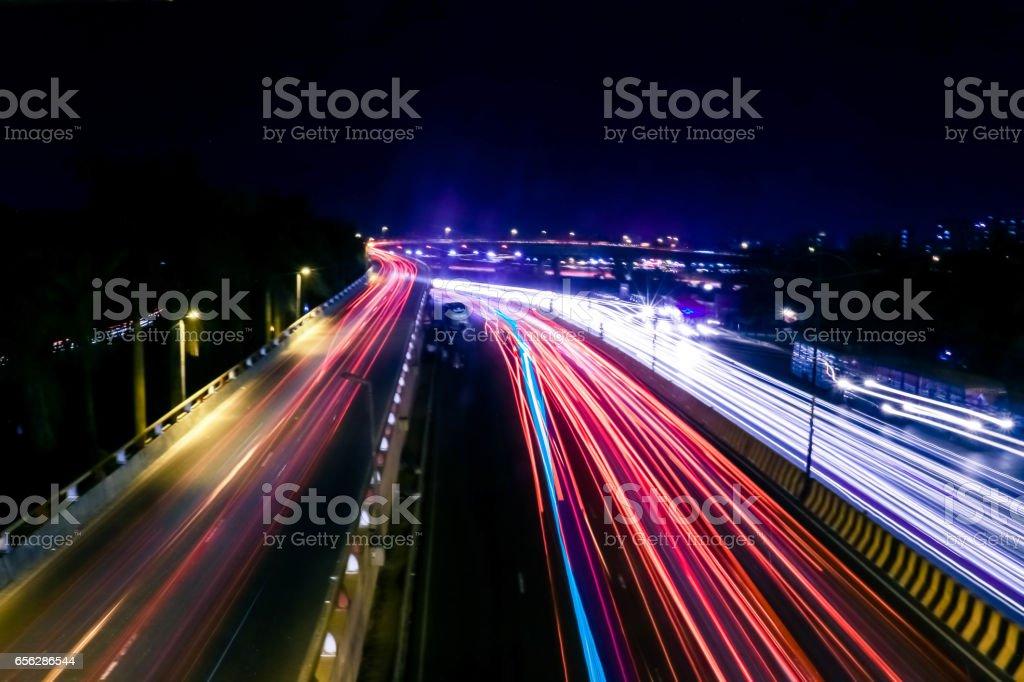 City on light line stock photo