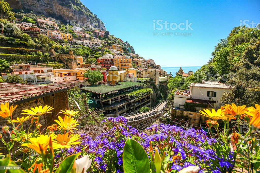 City on mountain in Amalfi coast, Positano, Italy stock photo