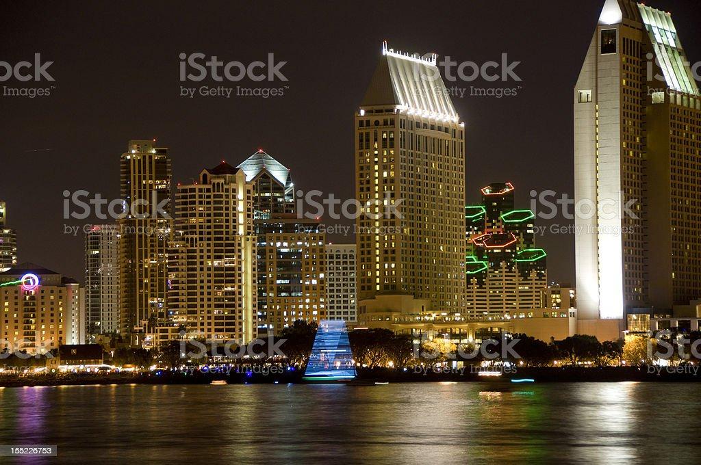 City on the bay at night royalty-free stock photo