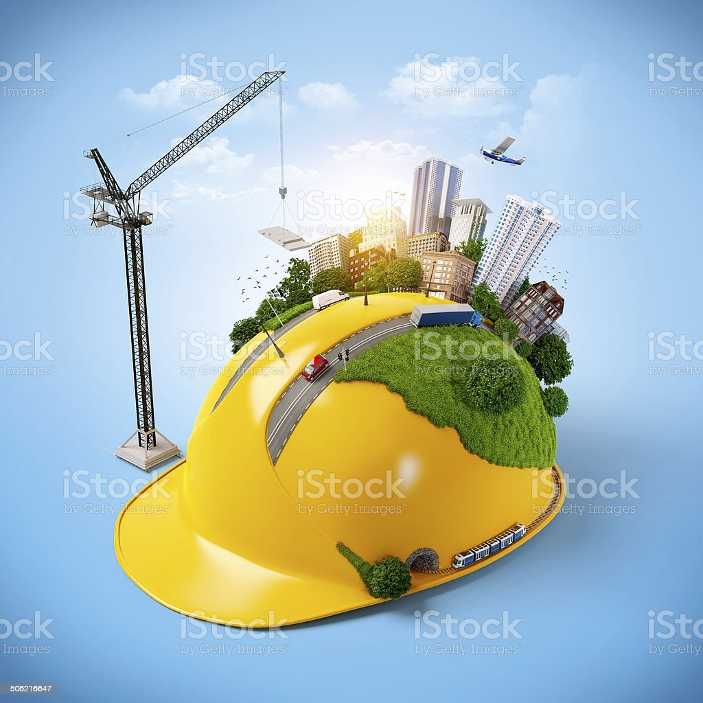 City on the construction helmet. stock photo