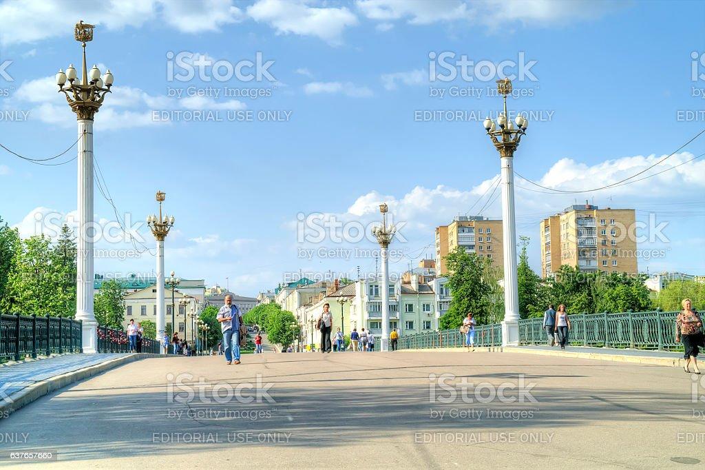 City Oryol. Bridge across the river Orlik stock photo