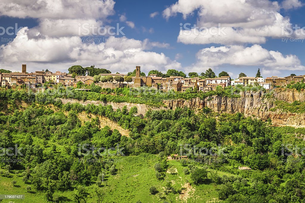 City over a cliff in Tuscany, Bagnoregio royalty-free stock photo