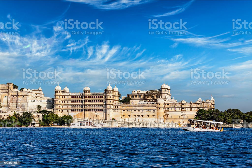 City Palace view from the lake. Udaipur, Rajasthan, India stock photo
