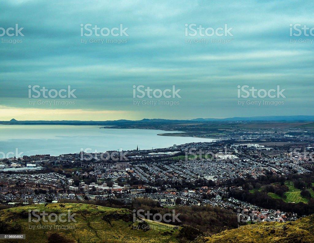 City panorama - Edinburgh from Holyrood Park/Arthur's Seat stock photo