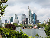 City panorama of the financial district in Frankfurt