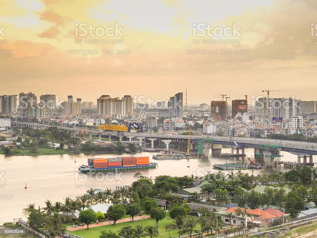 HCM city panorama side of District 2 stock photo
