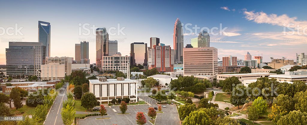 City panorama skyline of Charlotte North Carolina USA stock photo