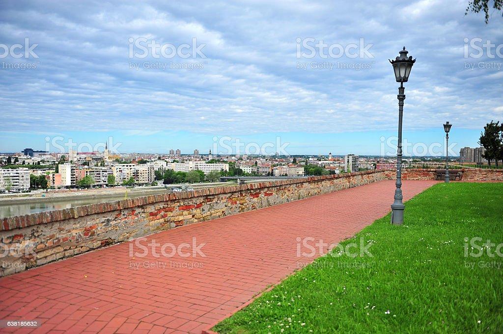 City park and skyline of Petrovaradin stock photo