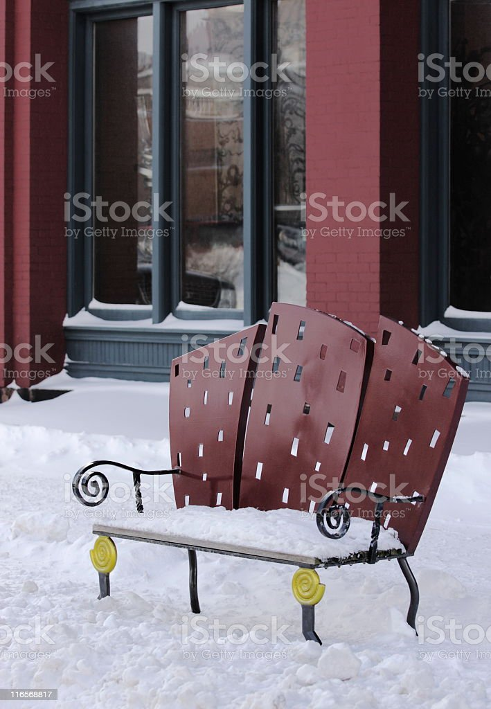 City Park Bench Architecture Winter royalty-free stock photo