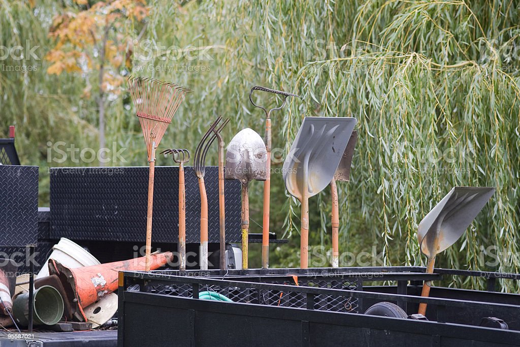 City park gardening tools stock photo