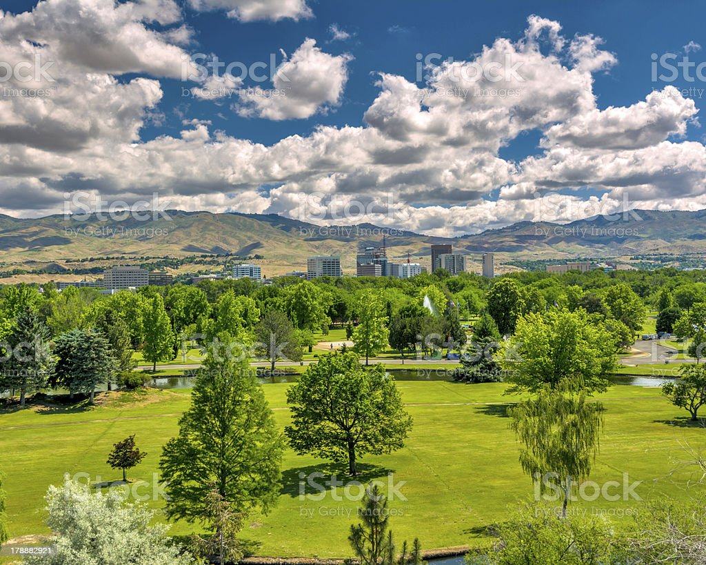 City park in Boise Idaho with the mountains stock photo