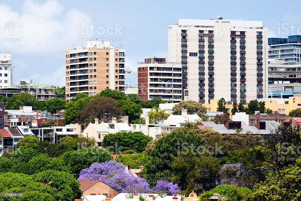 City - park, rooftops and apartments blocks royalty-free stock photo