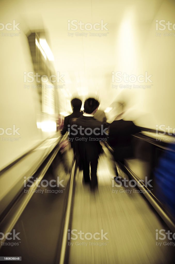 city passenger on elevator at subway station royalty-free stock photo