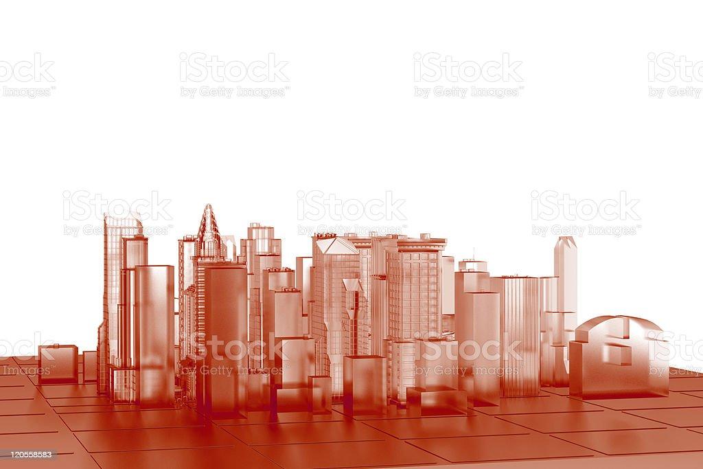 City (3D xray orange transparent on white) royalty-free stock photo