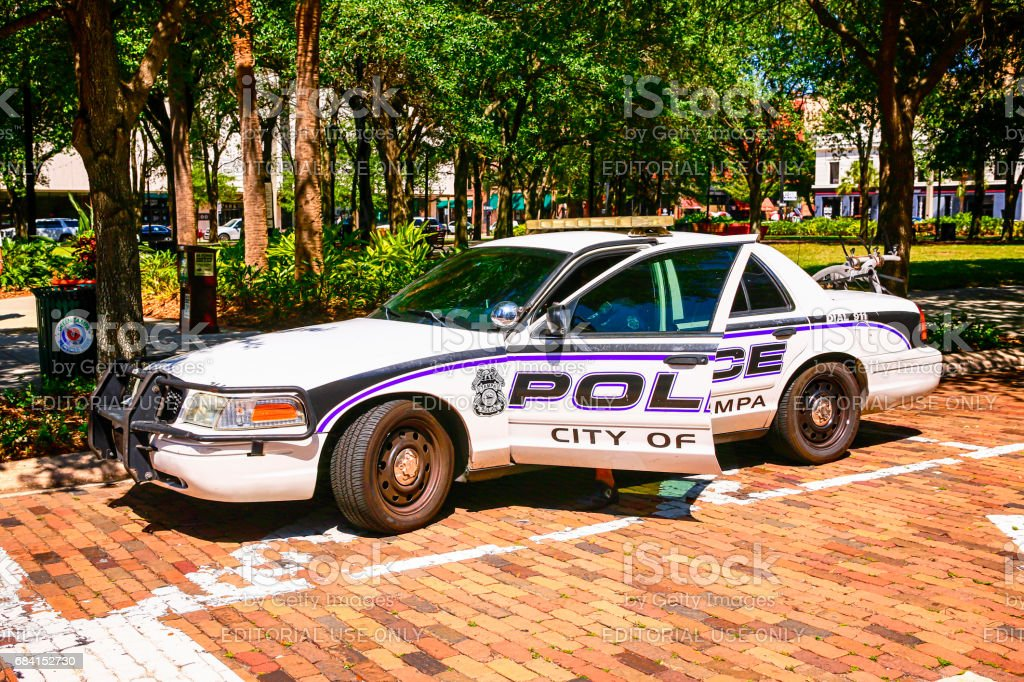 City Police car in the downtown area of Tampa FL stock photo