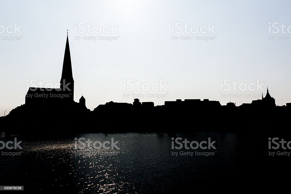 City port of Rostock stock photo