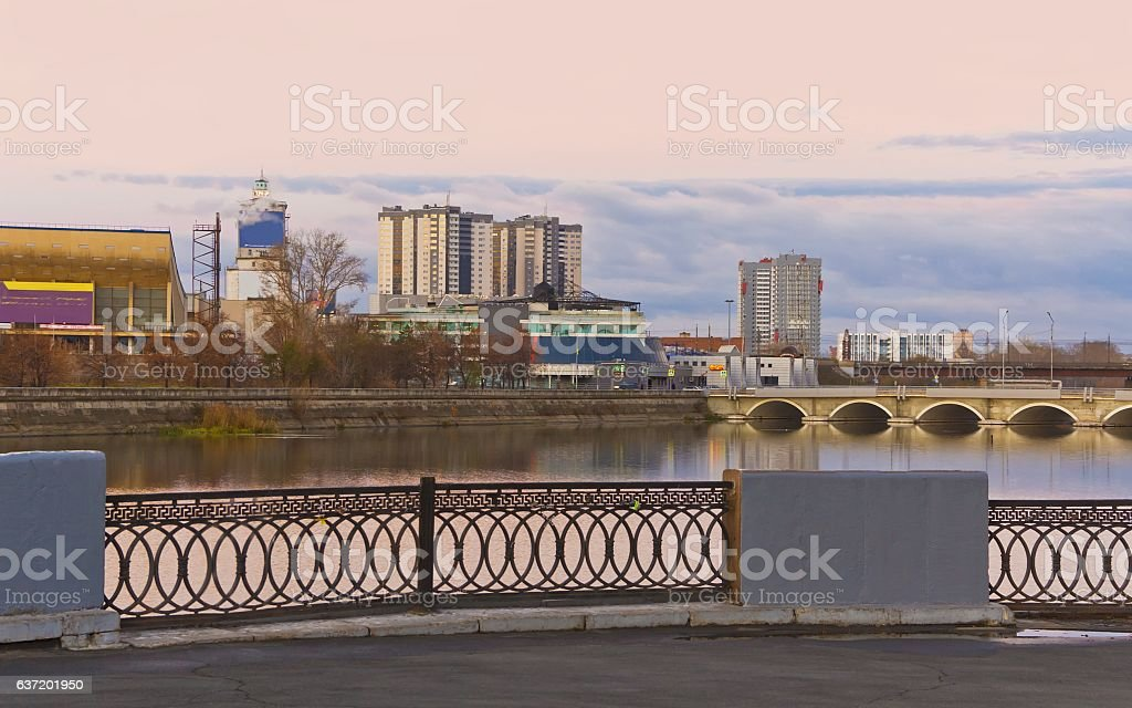 City promenade early autumn morning.Russia.Chelyabinsk stock photo