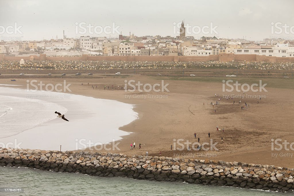 City Rabat, capital of Morocco, viewed from the seaside. stock photo