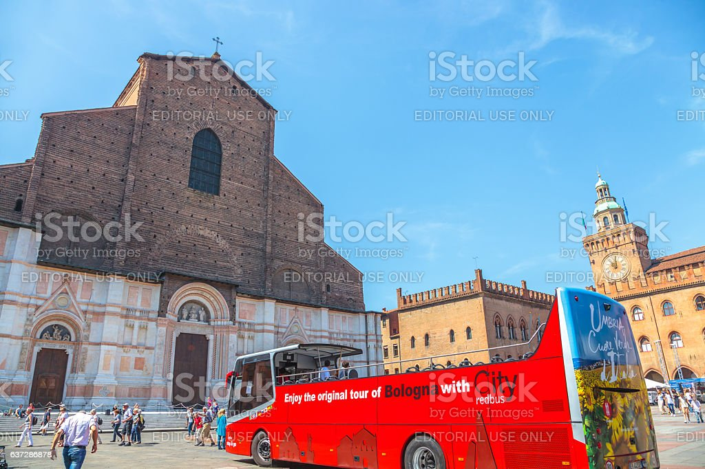 City Red Bus Bologne stock photo