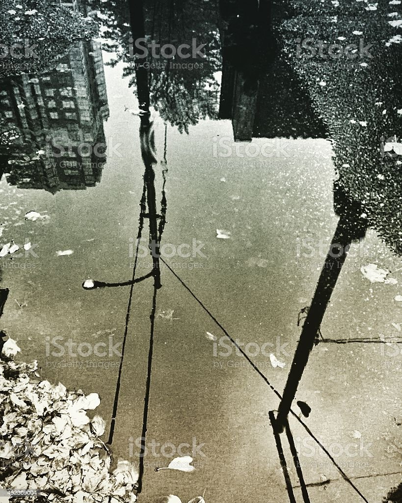 City reflection on rain puddle with leaves royalty-free stock photo
