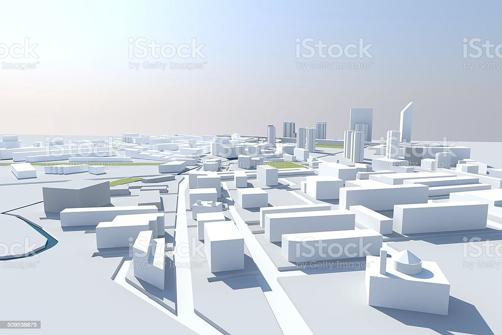City Render in Three-dimensional space stock photo