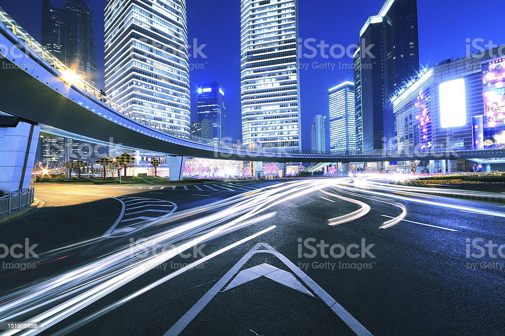 City ring road light trails night in Shanghai royalty-free stock photo