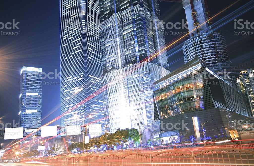 City road light trails night in Shanghai royalty-free stock photo