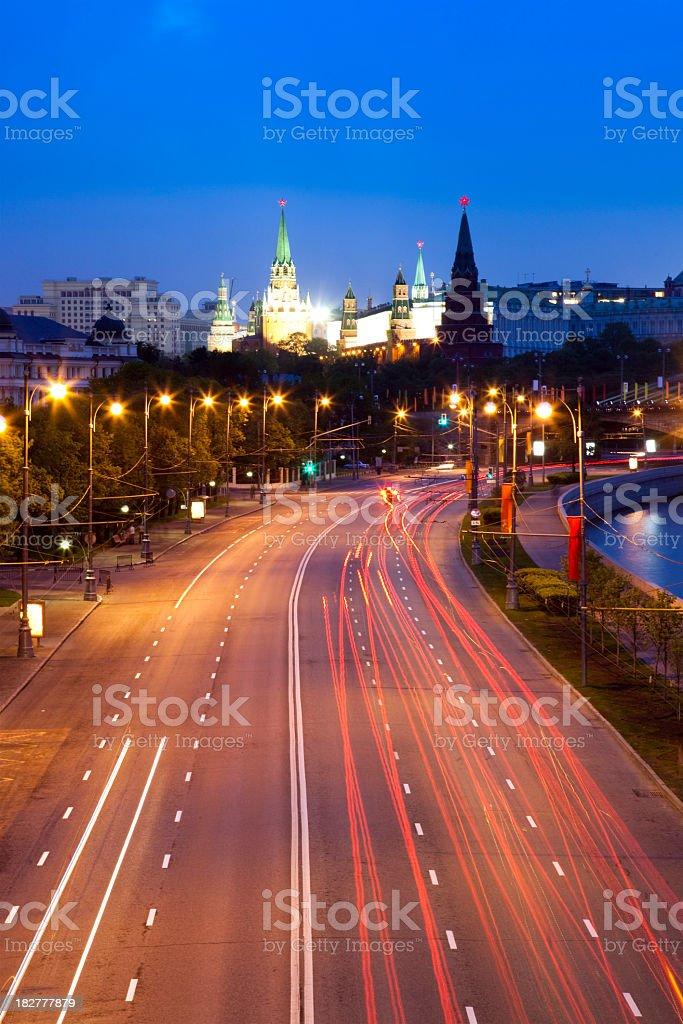 City road near Moscow Kremlin at night royalty-free stock photo