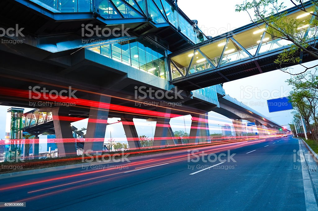 City road surface floor with viaduct bridge stock photo