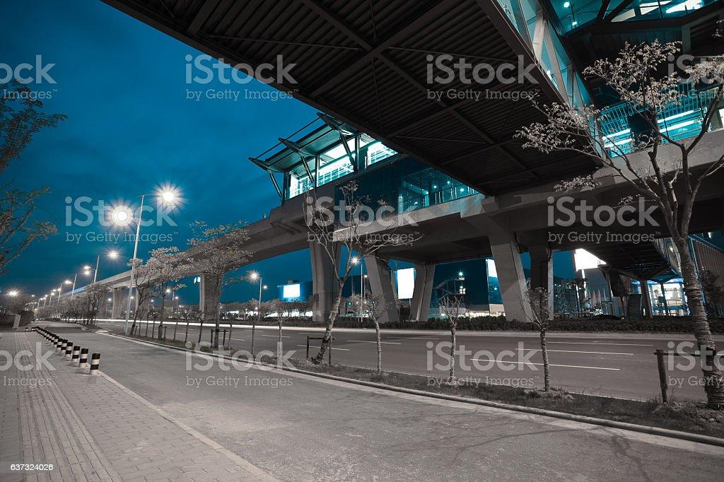 City road surface floor with viaduct bridge stock photo