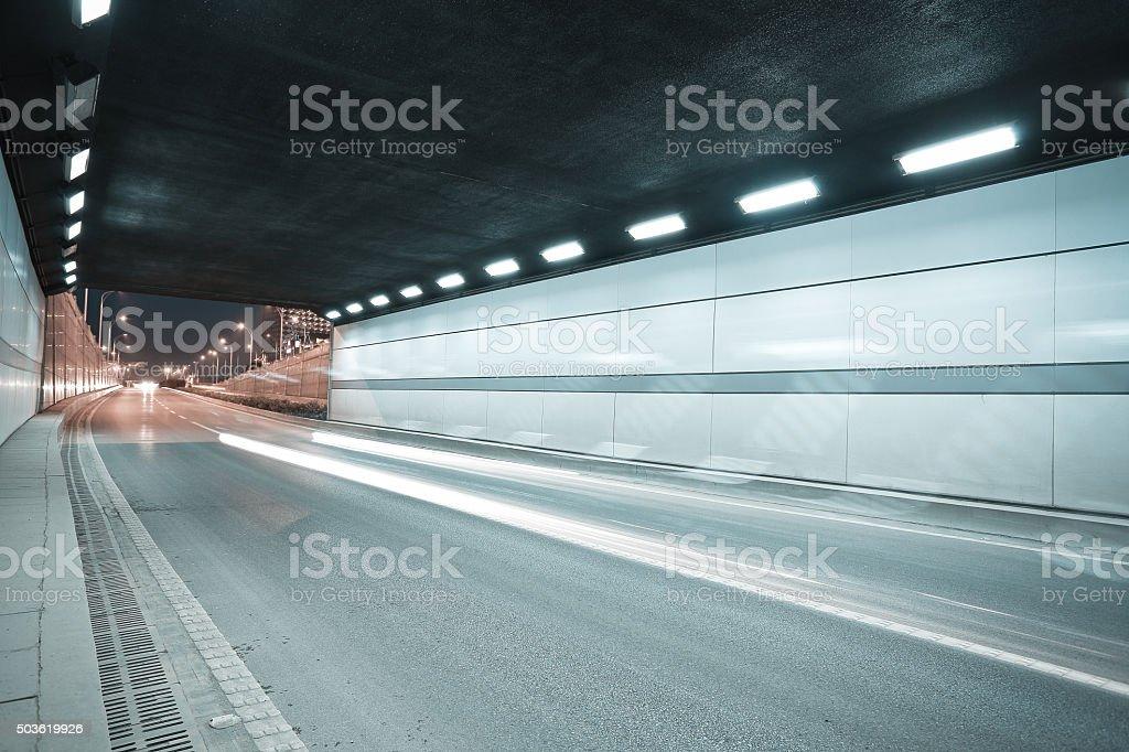 City road tunnel of night scene stock photo