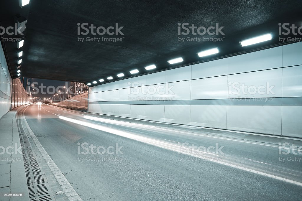 City road tunnel of night scene stock photo