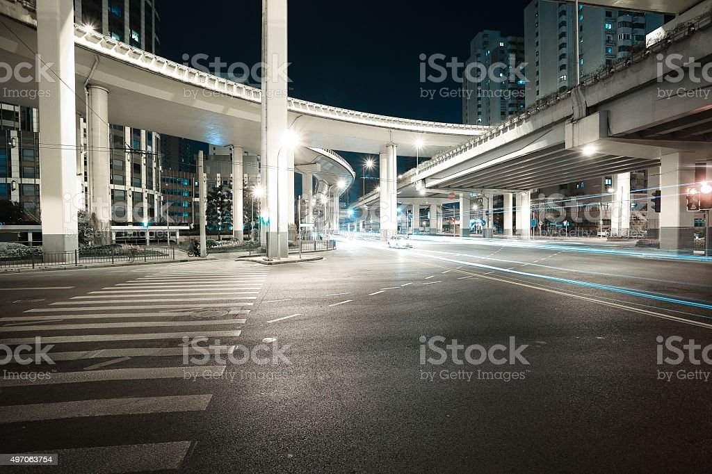 City road viaduct night of night scene stock photo