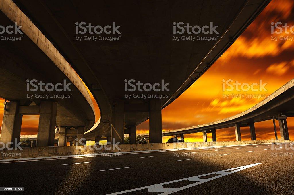 City road viaduct streetscape of night scene stock photo