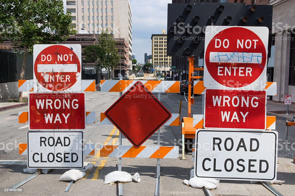 City Road Work Signs stock photo