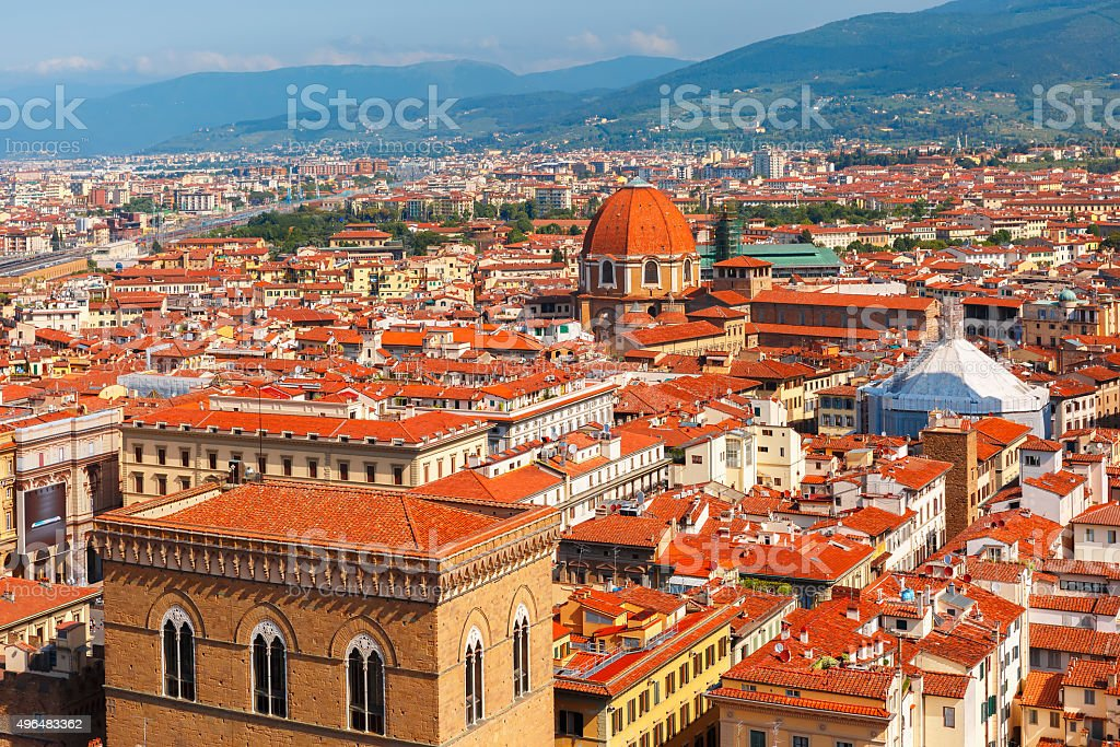 City rooftops and Medici Chapel in Florence, Italy stock photo