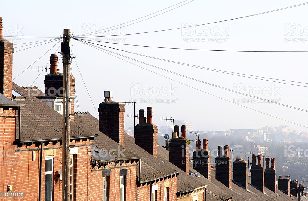 City Rooftops, Row of Terraced Houses, Sheffield stock photo