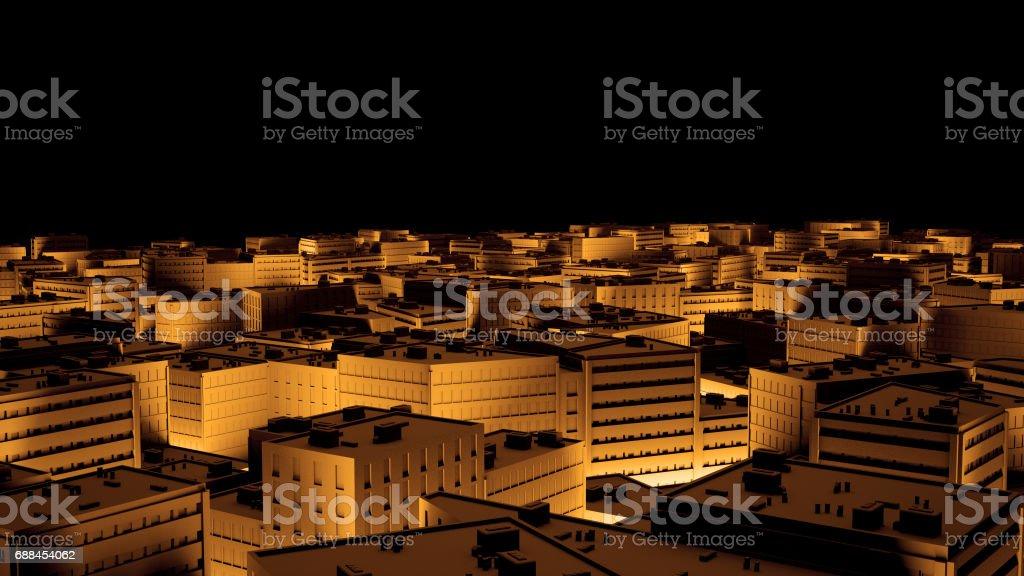 City sacpe in gold highlights tilt shift. 3d rendering stock photo