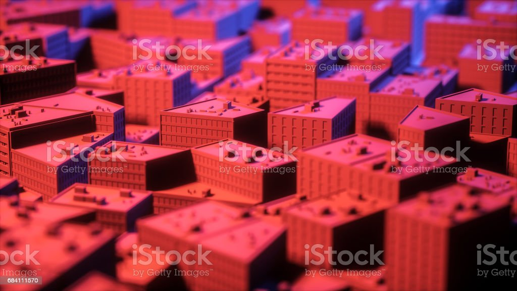 City sacpe in red and blue highlights tilt shift. 3d rendering stock photo