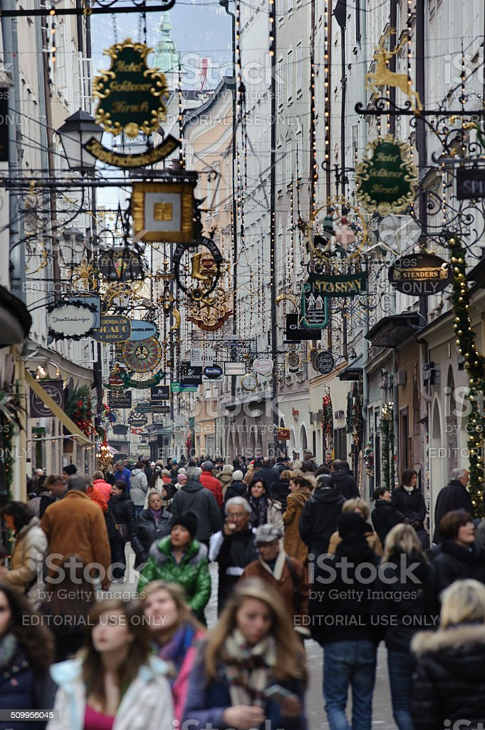 City Salzburg at christmas time stock photo