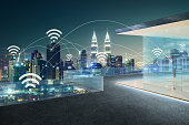 City scape and wifi network connection