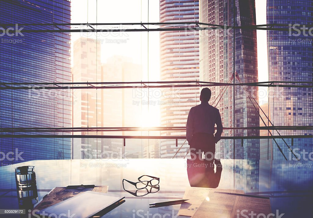 City Scape Businessman Leader Thinking Concept stock photo