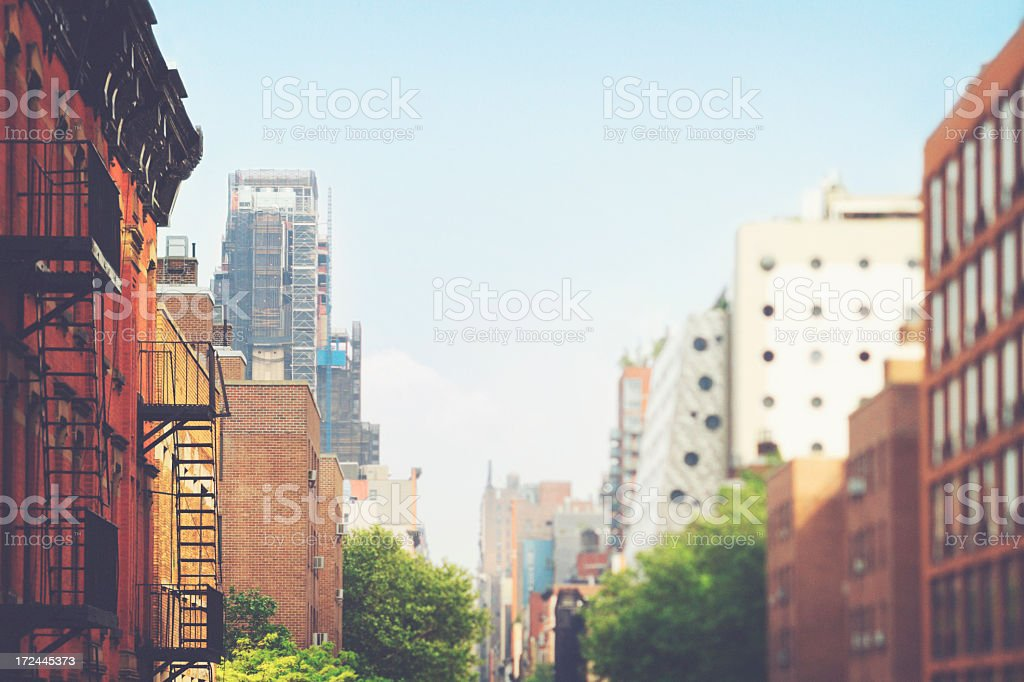 City scene of buildings in New York's Meatpacking District royalty-free stock photo