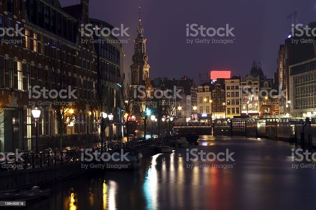 City scenic from Amsterdam in Netherlands at night stock photo