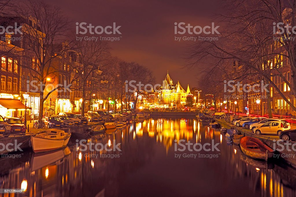 City scenic from Amsterdam in the Netherlands by night stock photo